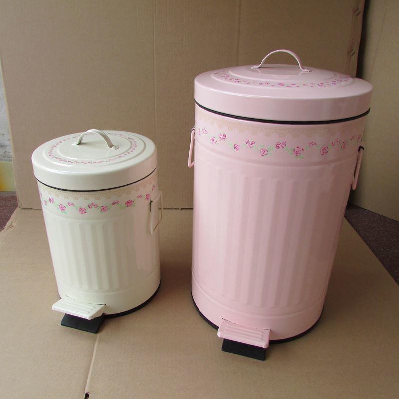 居家田園鄉村風 歐式蕾絲玫瑰踏式緩靜音垃圾桶