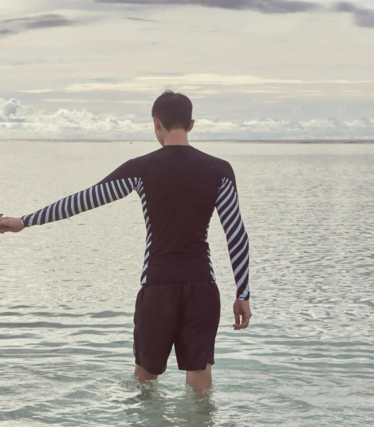 男泳裝 條紋 印花 運動 防曬 外套 兩件套 男 長袖 泳裝【SFM2105】 BOBI  05 / 17 3