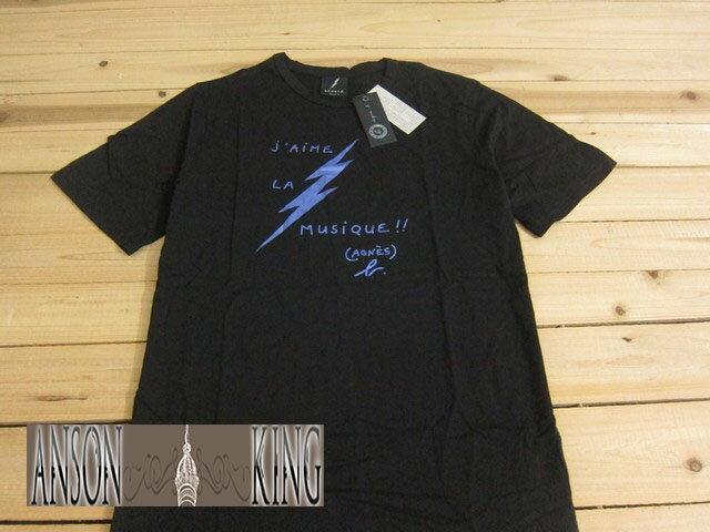 [Anson king]outlet國外代購 agnes b sport b 藍色閃電 字母 短袖 圓領 男款 T恤 黑 - 限時優惠好康折扣