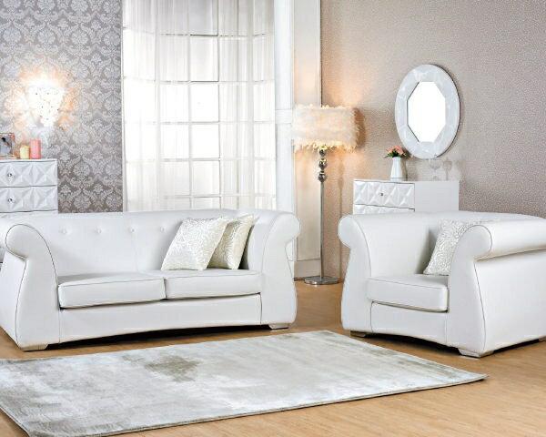 沙發【YUDA】Winter Witese 高雅 簡約 純白 雙人 高級 皮沙發 J5S561-2