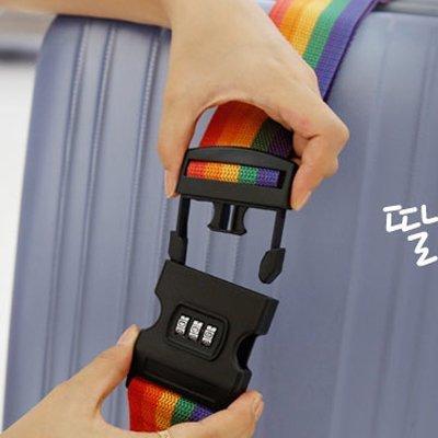 =優生活=韓國旅行必備行李綁帶 彩虹織帶旅行箱拉杆箱密碼'綁帶打包帶 密碼鎖