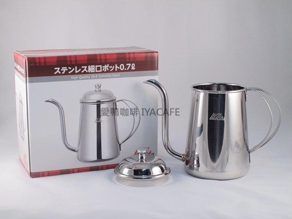 《愛鴨咖啡》Kalita 不銹鋼原色 手沖壺 細口壺 0.7L 贈兩用不銹鋼咖啡匙+填壓器一支