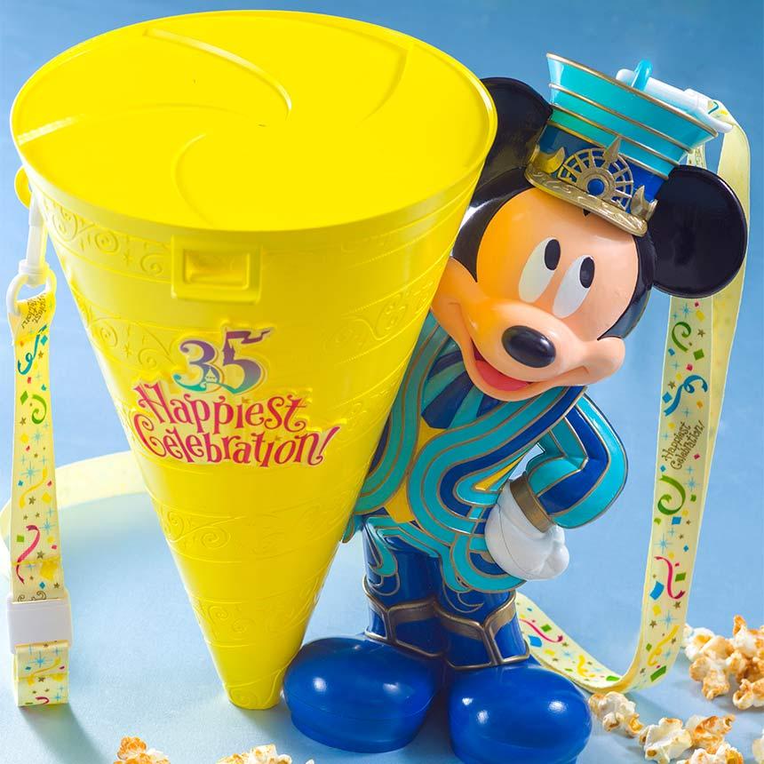 X射線【C710001】日本東京迪士尼代購-35週年米奇Mickey爆米花桶,包包掛飾/鑰匙圈/置物桶/收納架/收納包