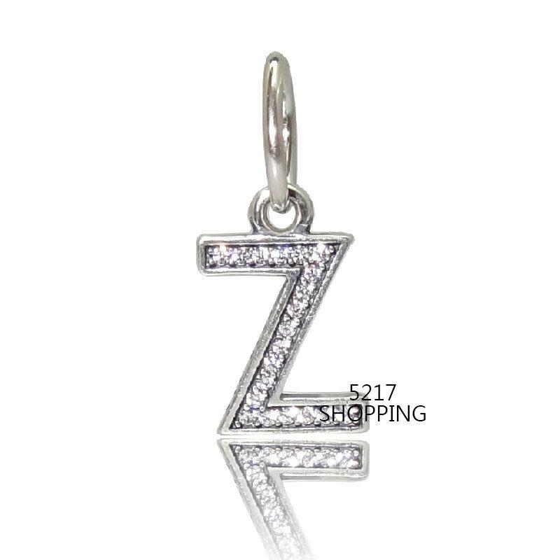銀飾~Z鑽垂墜~CHARMS 925純銀墜子 925銀飾墜飾 珍珠 琉璃 水晶 英文字母