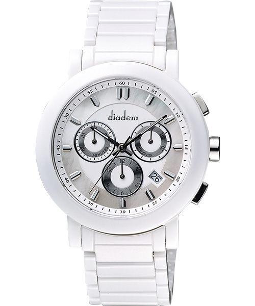 Diadem 黛亞登 8D1407-631S-W 都會時尚計時陶瓷腕錶/白面41mm