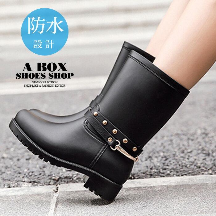 【KD707C】愛上下雨天 22CM中筒雨靴/雨鞋 機車靴 3.5CM低粗跟 防水PVC 黑色