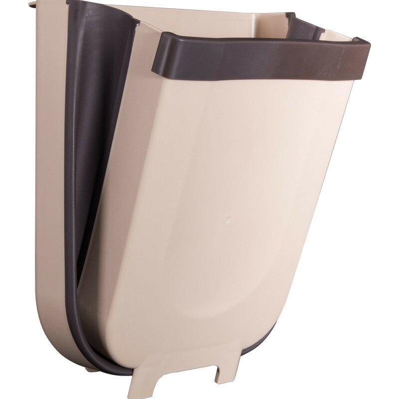 懸掛式可折疊垃圾桶 9L加大款 壁掛櫥櫃垃圾筒 可伸縮廚房櫃門垃圾箱 回收桶 廚餘桶垃圾架【ZA0112】《約翰家庭百貨