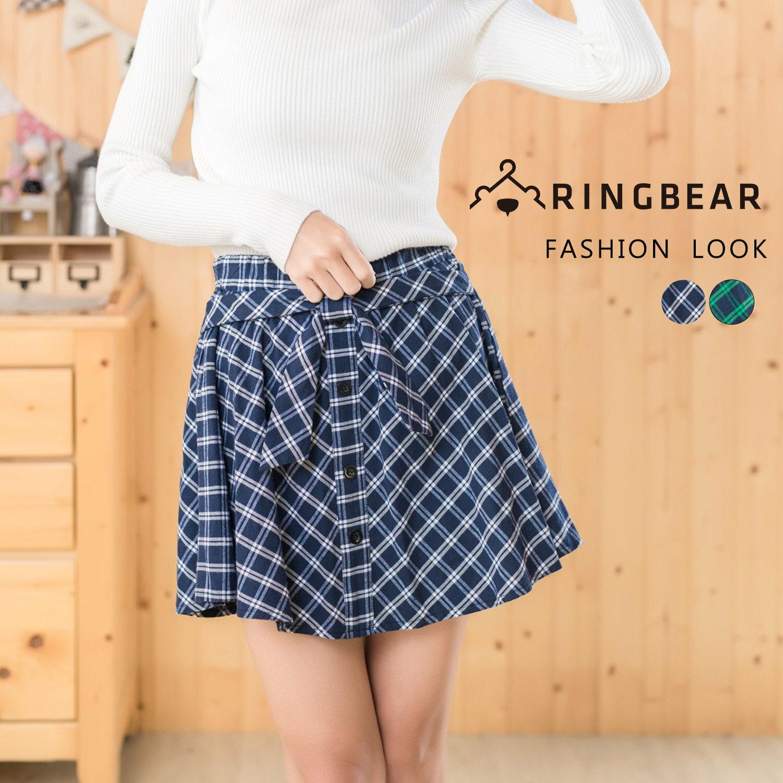 短裙--甜美學院風氣質蝴蝶結排釦裝飾鬆緊格紋褲裙(藍.綠XL-4L)-R173眼圈熊中大尺碼 0