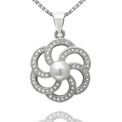~925純銀項鍊 珍珠吊墜~精緻鑲鑽優雅花朵生日情人節 女飾品73dh29~ ~~米蘭 ~