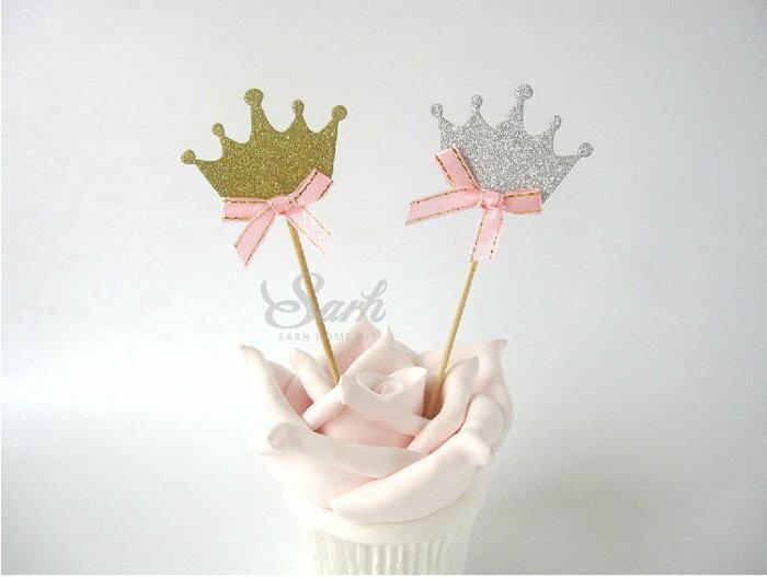 =優生活=皇冠公主主題婚禮 生日派對紙杯蛋糕裝飾插旗插牌甜品台水果叉 婚禮蛋糕裝飾 3入組