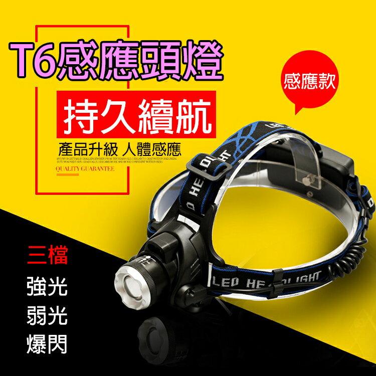 攝彩@鑫斯特T6感應頭燈 三檔調節 感應模式 伸縮調焦 揮手感應 高亮度照明燈具 攝影補光聚焦 露營登山野外戶外地震
