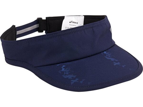 【ASICS亞瑟士】慢跑帽空心帽網球帽輕量遮陽反光彈性調整155903-0014深藍[陽光樂活]