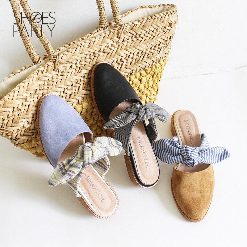 【S2-18609L】異素材蝴蝶穆勒鞋_Shoes Party 0