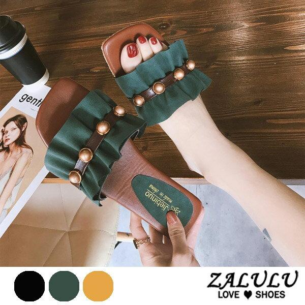 ZALULU愛鞋館7DE033預購名媛款珠珠波紋布平底拖鞋-綠黃黑-35-39