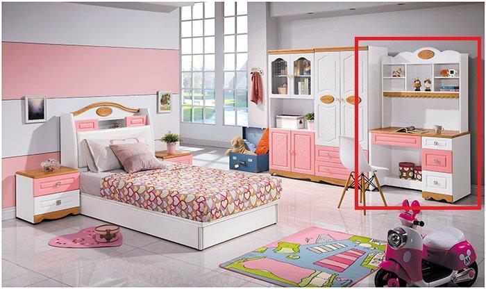 【尚品家具】 HY-A67-06 夏綠蒂粉紅色3.5尺書桌組(上+下)