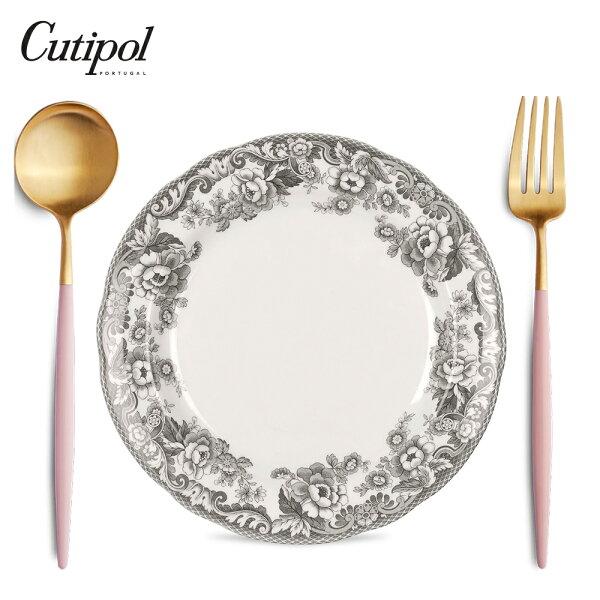 葡萄牙CutipolGOA系列個人餐具3件組-主餐叉+匙+英國餐碗(粉紅金)