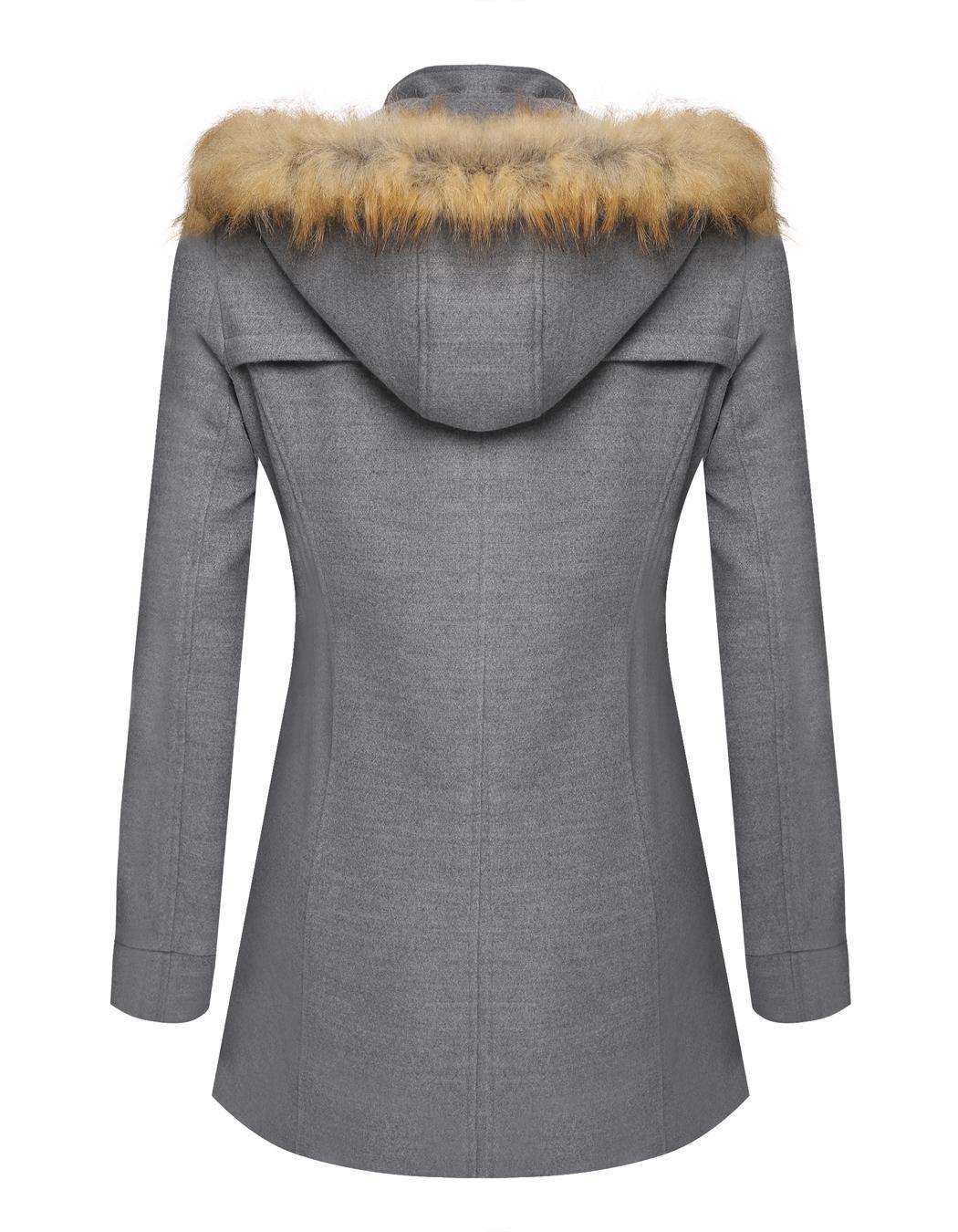 Women Detachable Faux Fur Hooded Long Solid Slim Wool Blend Coat 0