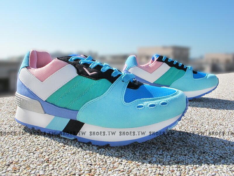 《超值7折》Shoestw【53W1YK67BP】PONY YORK 復古慢跑鞋 內增高 藍綠 增高鞋