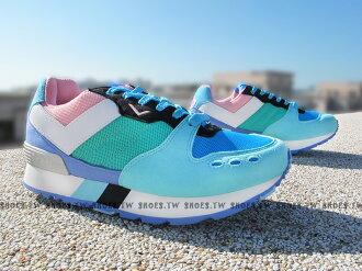 《超值990》Shoestw【53W1YK67BP】PONY YORK 復古慢跑鞋 內增高 藍綠 增高鞋