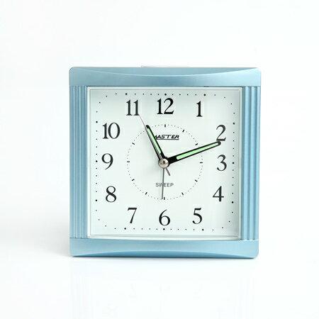 鬧鐘 銀藍色方形夜光指針座鐘 ^~NV8^~ 柒彩年代
