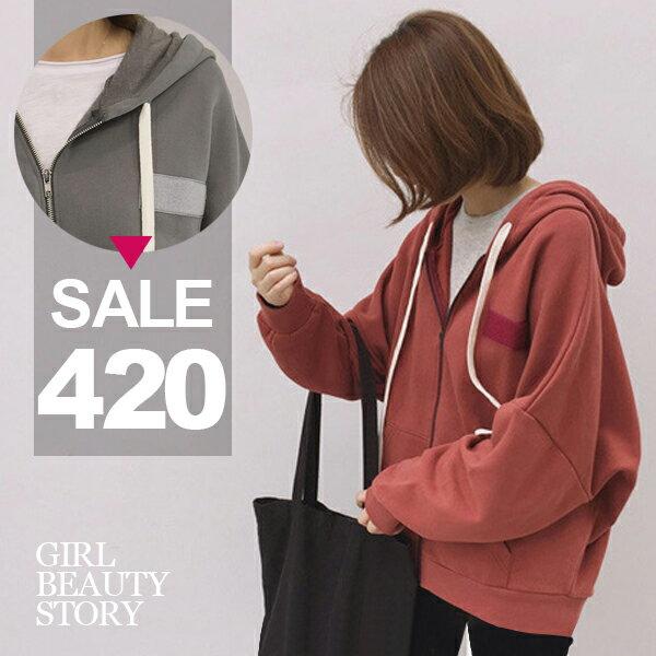 SiSi Girl:SISI【C6055】潮百搭大學衣厚實磨毛連帽拉繩寬鬆休閒魔鬼氈裝飾貼學號名牌貼外套