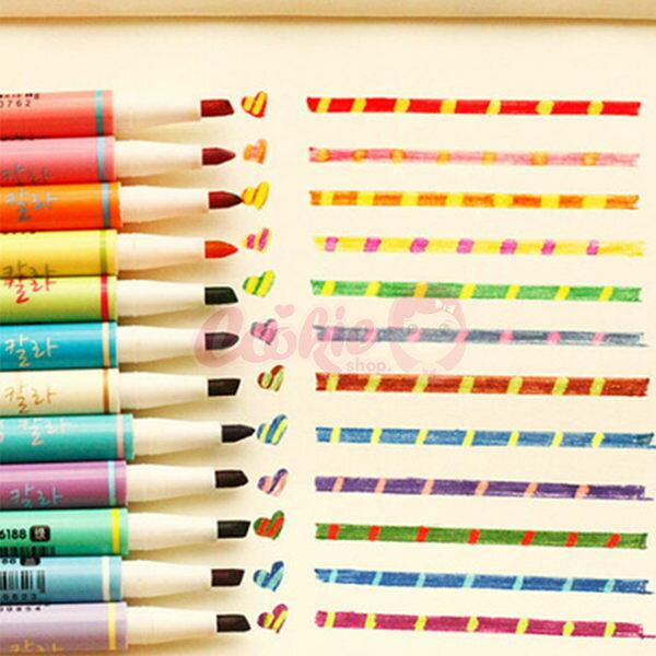 韓國文具創意塗鴉神器變色雙頭螢光筆12色【庫奇小舖】