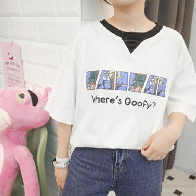 50^%OFF SHOP學院風中長款圓領套頭短袖T恤女寬鬆(2色)~G025182C~~洋