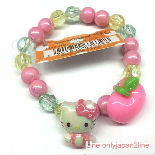 【真愛日本】17040600038 造型手環-KT彩珠櫻蘋果粉AAI 三麗鷗 Kitty 凱蒂貓 飾品 裝飾 手鍊