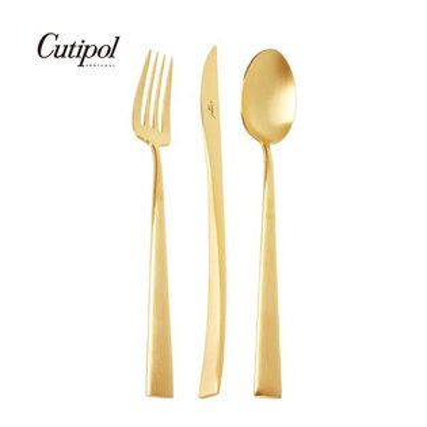 葡萄牙CutipolDUNA系列個人餐具3件組-主餐刀+叉+匙(霧金)