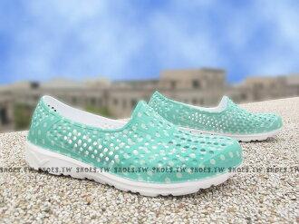 《限時特價79折》Shoestw【62U1SA63LN】PONY TROPIC 水鞋 軟Q 防水 懶人鞋洞洞鞋 綠點點 女生 親子