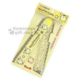 〔小禮堂〕布丁狗 折疊尺《黃.格紋.多動作.全30公分》可畫多形狀設計