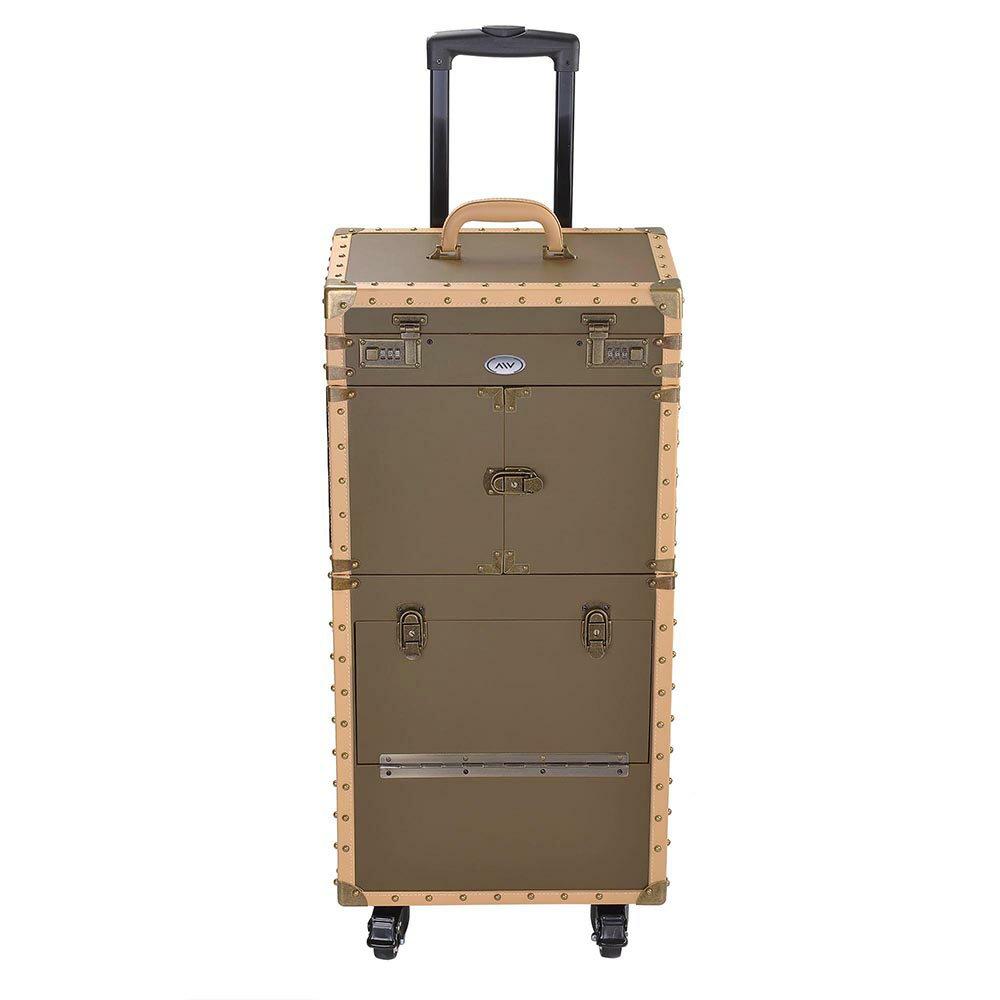 "AW® Pro XL 15"" x 10"" x 29"" Rolling Makeup Stylist Train Case Hair Salon Clipper Trimmer Bronze Box 3"