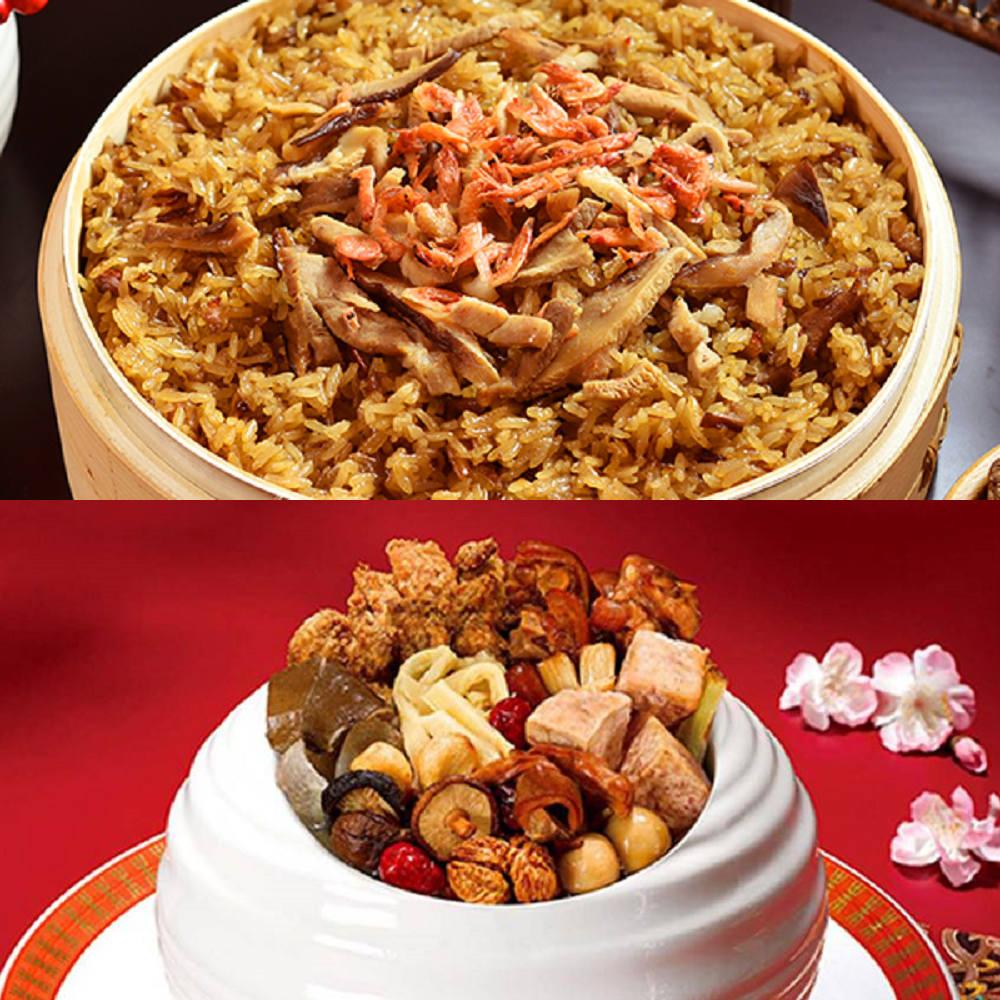 <br/><br/> 【鬍鬚張】幸福年菜2件組(櫻花蝦油飯+極品佛跳牆)<br/><br/>