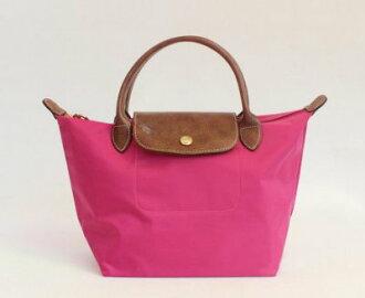 [短柄S號]國外Outlet代購正品 法國巴黎 Longchamp [1621-S號] 短柄 購物袋防水尼龍手提肩背水餃包 玫紅色