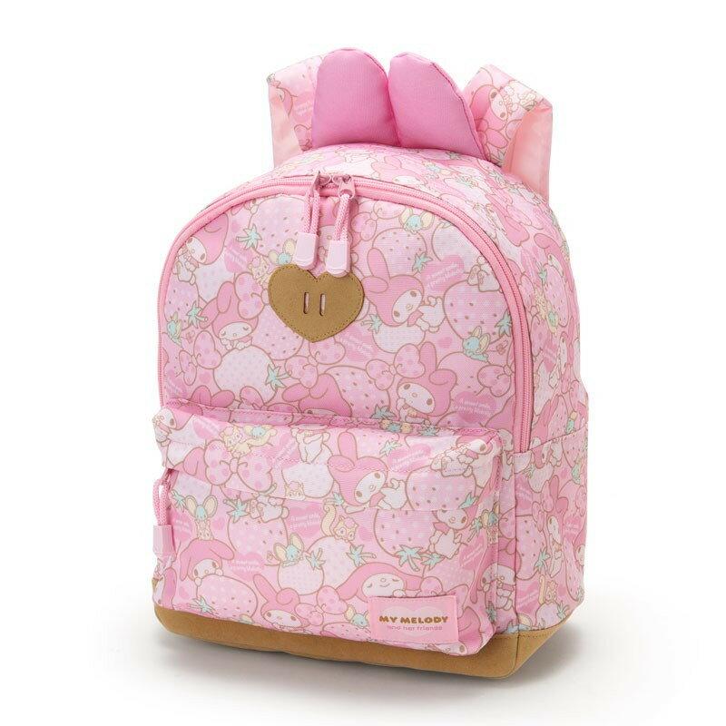 X射線【C982327】美樂蒂Melody 後背包M-大草莓,束口背袋/後背包/縮口提袋/帆布手提袋/便當袋/補習袋文具袋/購物袋