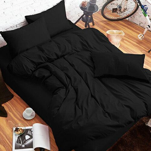 哇哇購:舒柔時尚精梳棉二件式枕套床包組單人黑色哇哇購