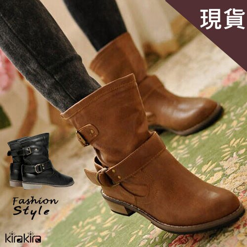 英倫時尚木質低跟馬汀短靴