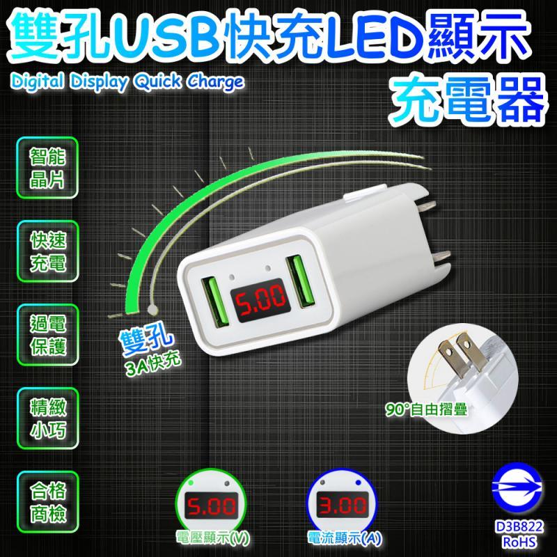 WP-1 雙孔USB快充LED顯示充電器