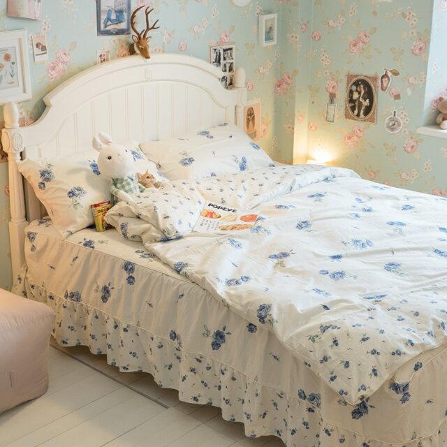 藍莓花園  雙人加大鋪棉床裙三件組 100%精梳棉 台灣製 8