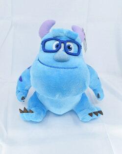 X射線【C572766】毛怪10吋迪士尼眼鏡款,絨毛填充玩偶玩具公仔抱枕靠枕娃娃
