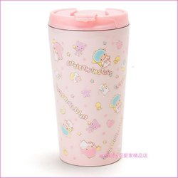 asdfkitty可愛家☆雙子星粉色 不鏽鋼保温杯/隨手杯/隨行杯/380ml-可保冷-日本正版
