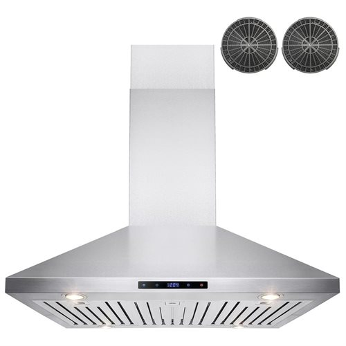 """36"""" Stainless Steel Island Mount Range Hood Touch Screen Display Light Baffle Filter Ductless Vented 1"""