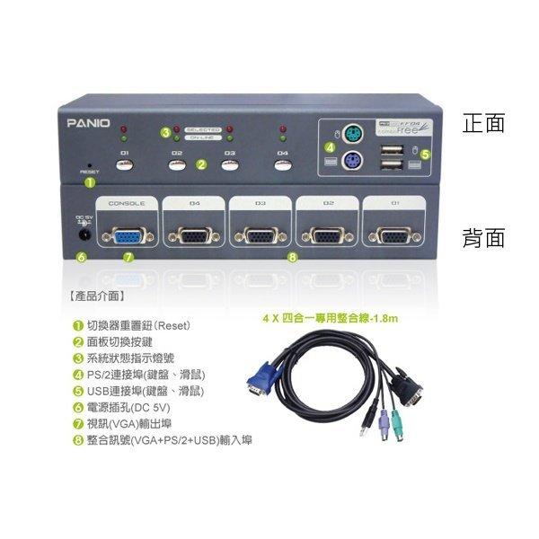 【新風尚潮流】PANIO 4埠 KVM Switches 電腦切換器 USB+PS/2介面 筆電也適 KF04