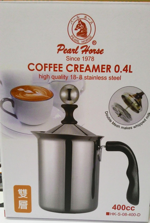 雙層手動牛奶發泡器(防燙把手)-寶馬牌 不銹鋼雙層濾網發泡器400cc-【良鎂咖啡精品館】