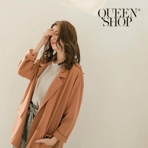 QueenShop【02030306】雙口袋麻感長版西裝外套兩色售*預購*