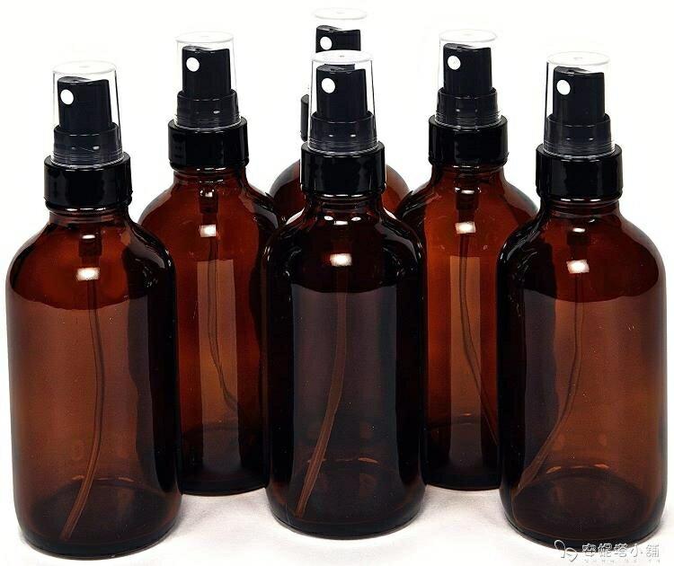 6個裝120ml棕色避光玻璃噴霧瓶香水精油細霧噴瓶酒精噴壺分裝瓶yh