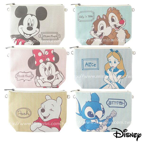 Miravivi:Disney迪士尼文青淡彩條紋棉麻多功能化妝包萬用包斜背包水餃包
