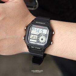 CASIO卡西歐全黑地圖電子膠錶【NEC59】柒彩年代