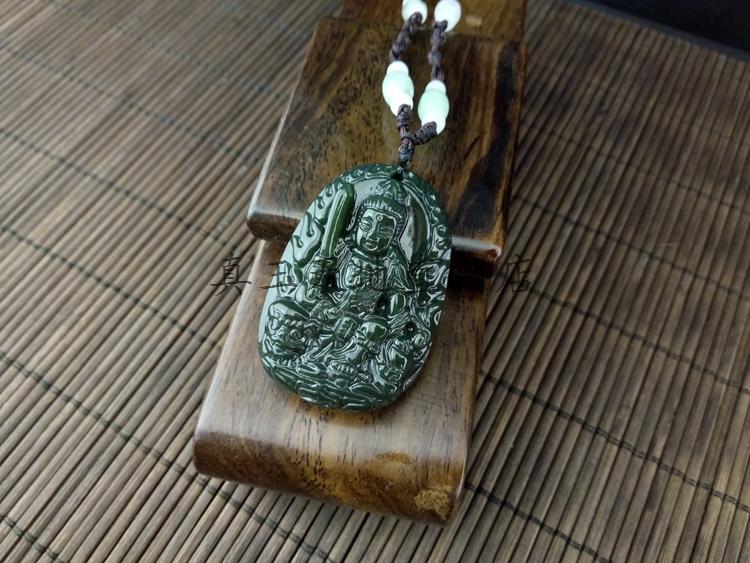 天然新疆和田青玉守護神文殊菩薩吊墜生肖屬兔開光本命佛男女掛件1入