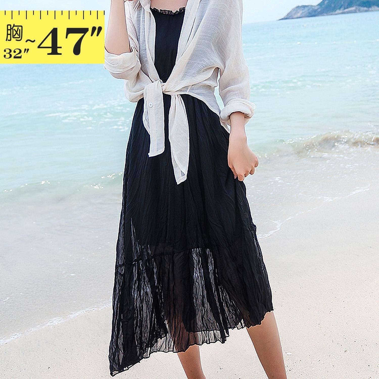 性感洋裝--兩件式舒適優雅細肩帶修身壓紋雪紡花邊V領短袖洋裝(黑.粉M-3L)-D520眼圈熊中大尺碼 1